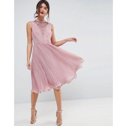 ASOS Sleeveless Lace Insert Pleated Midi Dress - Beige