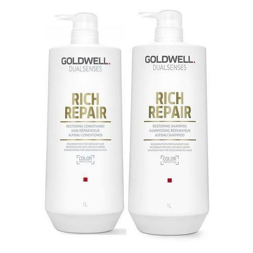 Goldwell rich repair   zestaw regenerujący: szampon 1000ml + odżywka 1000ml