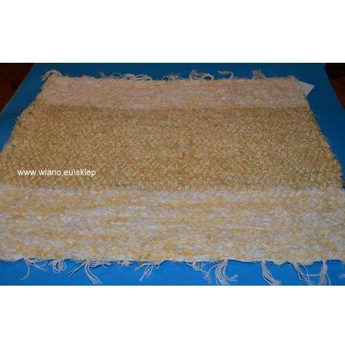 Twórczyni ludowa Chodnik bawełniany (wycieraczka) ręcznie tkany jasno złocisty, brzegi żółto-ecru 65x50