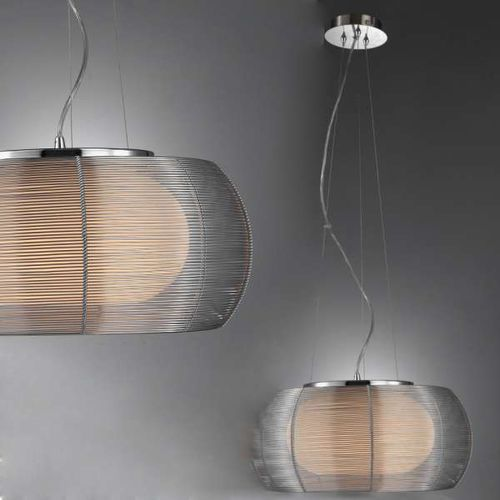 Lampa wisząca tango md1104-2l sil metalowa oprawa nowoczesna szklany zwis okrągły srebrny marki Zumaline