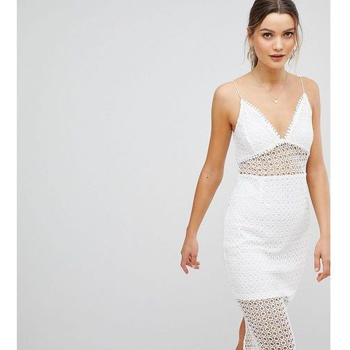 Prettylittlething lace insert cami strap midi dress - white