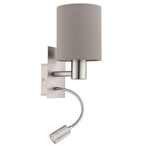 Eglo Kinkiet pasteri 96478 oprawa lampa ścienna 1x40w e27 + 3,5w led nikiel/beż