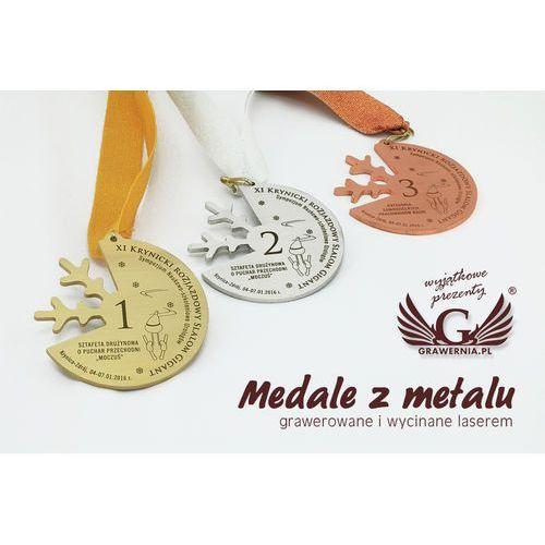 Medale metalowe w trzech kolorach (mosiądz, stal, miedź) - wymiary 81,5x77,5mm marki Grawernia.pl - grawerowanie i wycinanie laserem