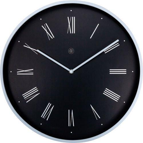 Zegar ścienny rzymskie cyfry na czarnym tle Duke nXt 40 cm (7329 ZW)