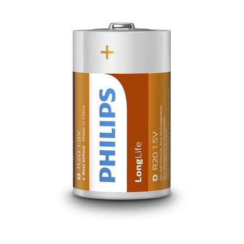 Philips 2 x bateria cynkowo-węglowa longlife r20 d (taca) (8712581549527)