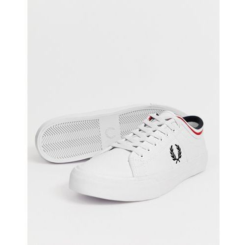 e4003a5fea0ab Fred Perry Kendrick tipped cuff leather trainers in white - White, kolor  biały