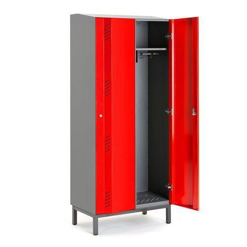 Szafa ubraniowa create energy, na nóżkach, 2 moduły, 1985x600x500 mm, czerwony marki Aj produkty
