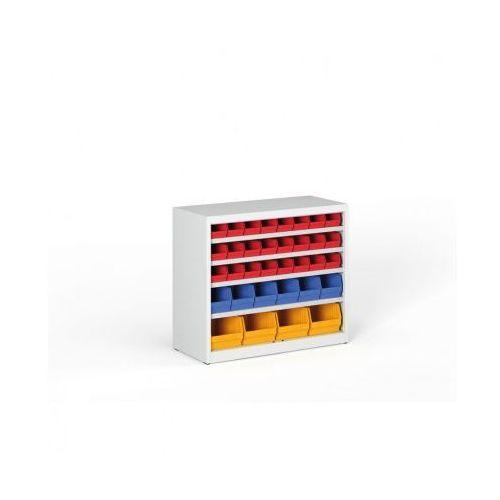 Regał z plastikowymi pojemnikami - 800x920x400 mm, 24xA, 6xB, 4xC