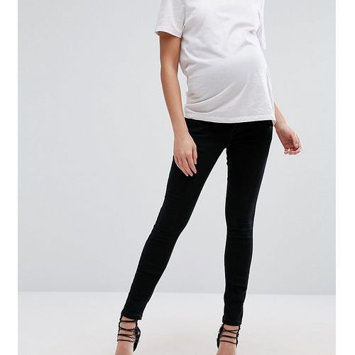ASOS DESIGN Maternity Tall Ridley skinny jeans in clean black with over the bump waistband - Black, kolor czarny