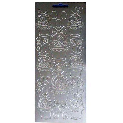 Sticker srebrny 01815 - koszyczek wielkanocny x1 marki Herma