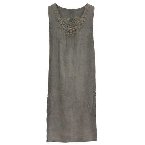 06ec337c16 Suknie i sukienki · Sukienka lniana z koronką khaki