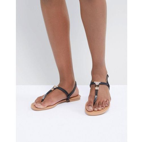 New Look Leather Look Toe Post Metal Detail Flat Sandal - Black, kolor czarny