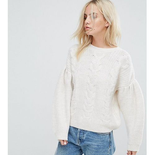 ASOS PETITE Jumper in Cable With Volume Sleeves - Cream