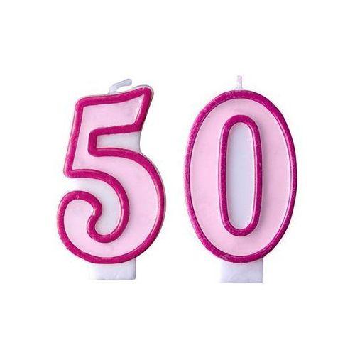 Świeczki cyferki różowe - 50 - pięćdziesiątka - 2 szt.