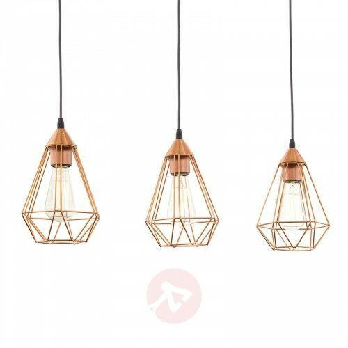 3-punktowa lampa wisząca vintage Tarbes, miedziana, 22680895969