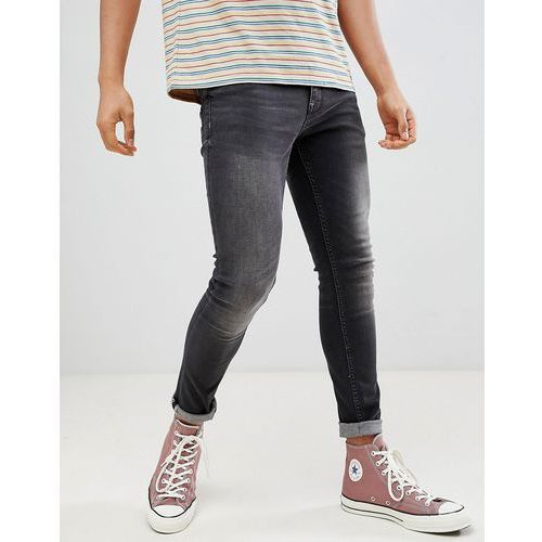 Stradivarius Super Skinny Jeans In Black - Black, kolor czarny