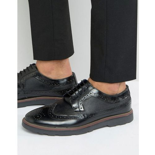 soho brogues in black leather - black, Silver street