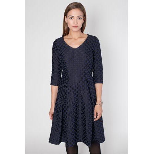 Żakardowa sukienka w romby - Click Fashion, kolor czarny