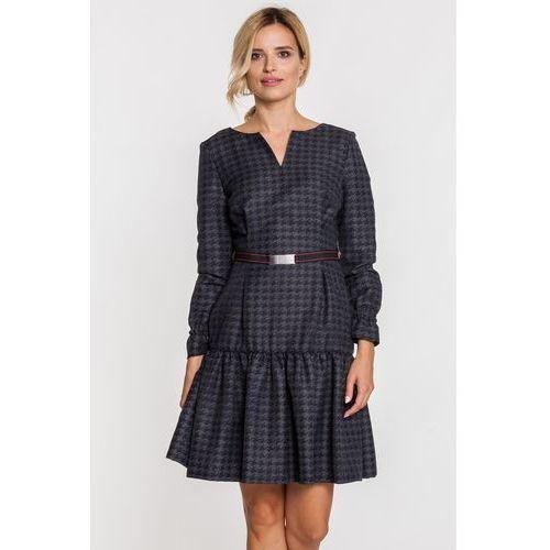 Sukienka w czarno-szarą pepitkę - GaPa Fashion, 1 rozmiar