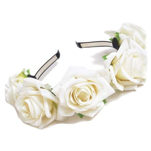 Opaska sztywna duże róże biała - BIAŁA