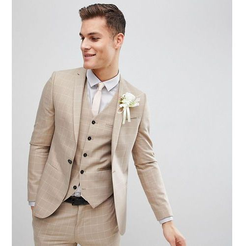skinny wedding suit jacket in windowpane check - beige, Noak