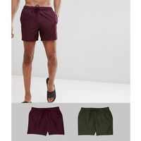 ASOS DESIGN Tall Swim Shorts 2 Pack In Burgundy & Khaki Short Length Save - Multi, w 3 rozmiarach