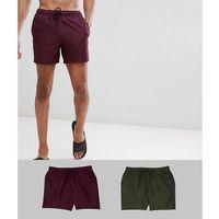 ASOS DESIGN Tall Swim Shorts 2 Pack In Burgundy & Khaki Short Length Save - Multi, w 5 rozmiarach