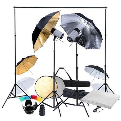 vidaXL Zestaw studio: 2 lampy, 6 parasolek i statywy (8718475821755)
