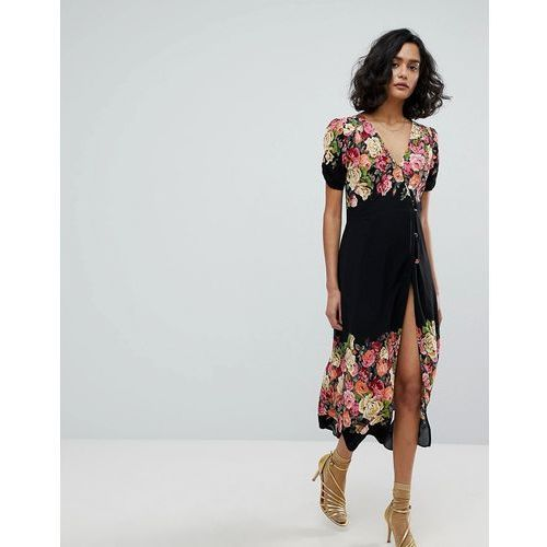 Free People Jaimie Floral Midi Dress - Black, kolor czarny