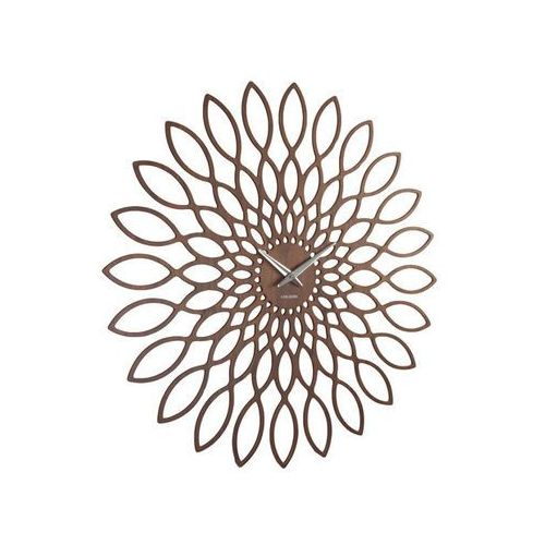 Karlsson:: Zegar ścienny Sunflower walnut - Śr. 60cm \ Ciemno brązowy