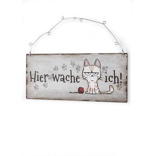 """Tabliczka na drzwi """"kot"""" beżowo-brązowy marki Bonprix"""