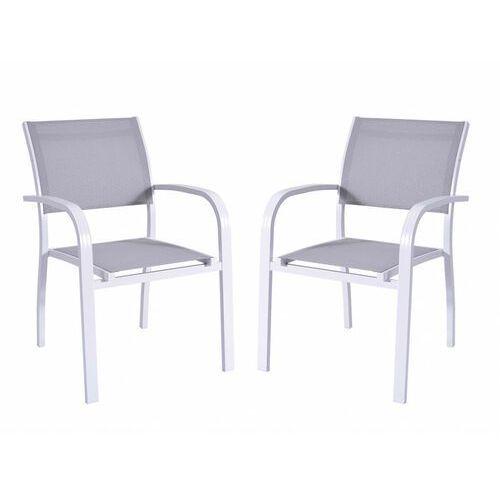 Vente-unique Zestaw 2 ogrodowych foteli sztaplowanych paia z aluminium i tekstylenu – siedzisko w kolorze szarym