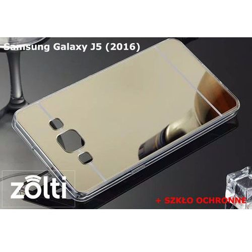 Zestaw | Slim Mirror Case Złoty + Szkło ochronne Perfect Glass | Etui dla Samsung Galaxy J5 (2016)