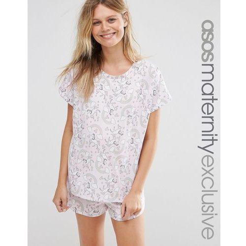 All Over Rainbow Unicorn Short and Tee Pyjama Set - Pink, ASOS Maternity