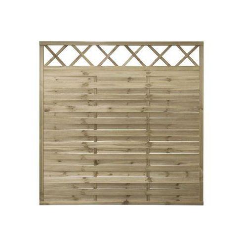 Płot lamelowy z kratką 180x180 cm drewniany STELMET (5900886383943)