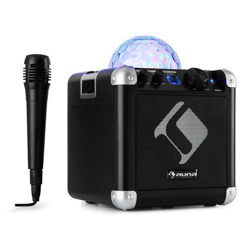 auna BC-10 zestaw karaoke oświetlenie dyskotekowe LED Bluetooth baterie USB AUX-In czarny