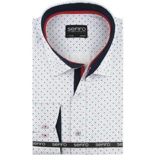 Koszula Męska Sefiro biała w kropki SLIM FIT na spinki lub guzik A100