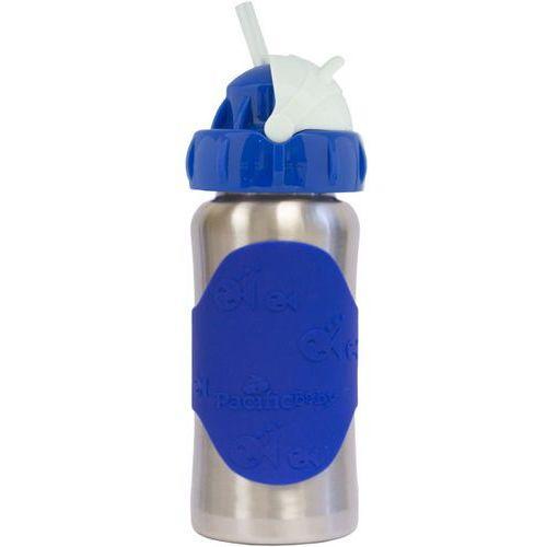 PACIFIC BABY GroGrow Termobutelka eko ze słomką nierdzewna 300 ml – niebieska (4897039723255)