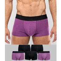 ASOS DESIGN hipsters in purple & black 5 pack in organic cotton - Multi