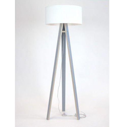 Lampa stojąca na trzech nogach drewniana z abażurem RAGABA WANDA - szara/biały abażur