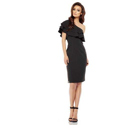 Czarna dopasowana sukienka z falbanką na jedno ramię, Lemoniade, 36-38