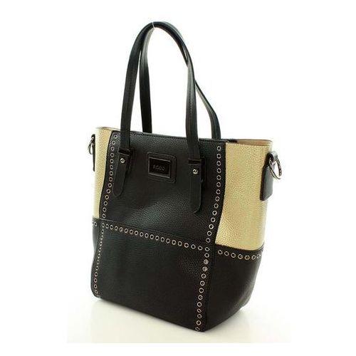 Czarna torba typu shopper ze srebrnymi detalami marki Verostilo