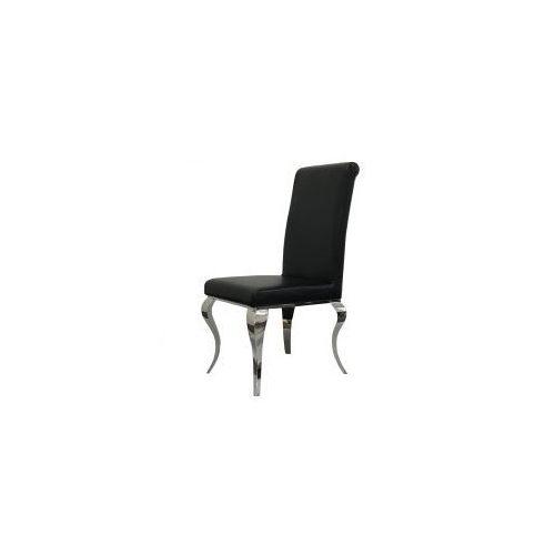 Krzesło glamour Premier Black Eco - nowoczesne krzesło tapicerowane ekoskóra, kolor czarny