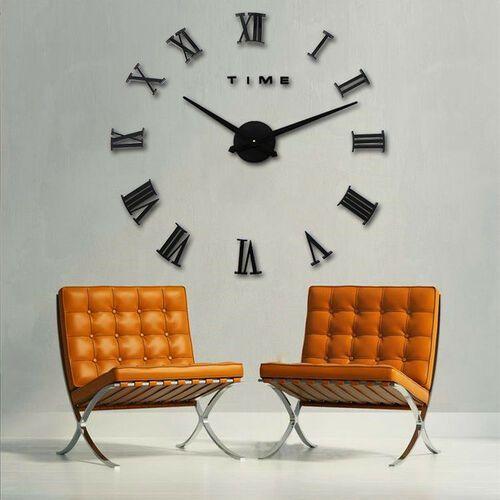 RZYMSKI czarny duży zegar na ścianę czarny większa niż 50 cm, kolor czarny