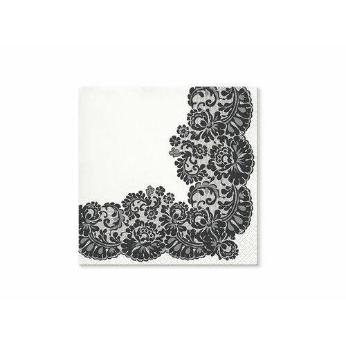 Serwetki białe z czarnym koronkowym wzorem - 33 cm - 20 szt. marki Paw