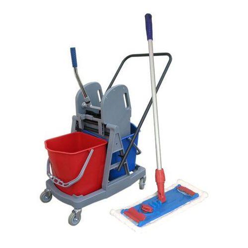 Wózek do sprzątania dwuwiaderkowy 2x 17l z mopem płaskim 40 cm wózki do sprzątania marki Clean