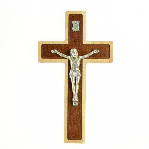 Dwukolorowy krzyż z drewna bukowego, 22 cm