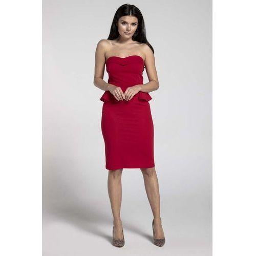 Czerwona koktajlowa sukienka gorsetowa z półbaskinką, Nommo, 34-44