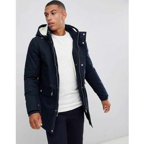 Bellfield Borg Lined Parka With Hood In Navy - Navy