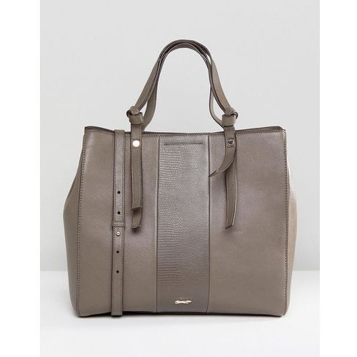 Paul Costelloe Real Leather Shoulder Bag with Constrast Stitching - Brown, kolor brązowy